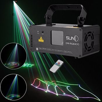 SUNY Remote DMX 400mW RGB Laser Stage Lighting Flash Scanner DM-RGB400 DJ Dance Xmas Show Effect Projector Fantastic Disco KTV