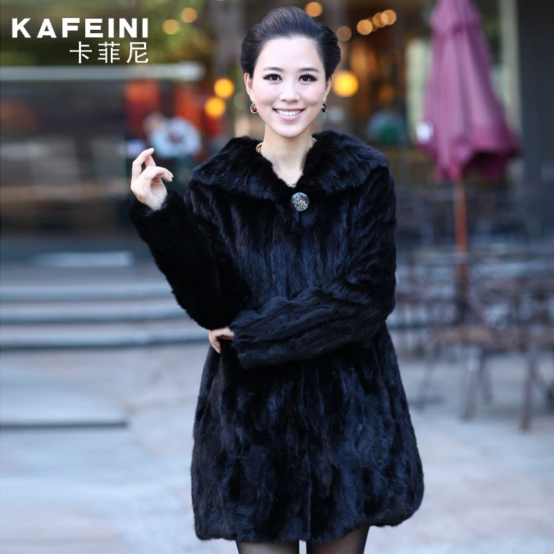 Luxury Winter Women's Genuine Natural Spliced Mink Fur Coat With Turn-Down Collar Lady Warm Outerwear Coats VF0258