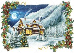 Christmas Village Winter Rustic Frame XMAS backdrop Vinyl cloth High quality Computer printed party Backgrounds for sale