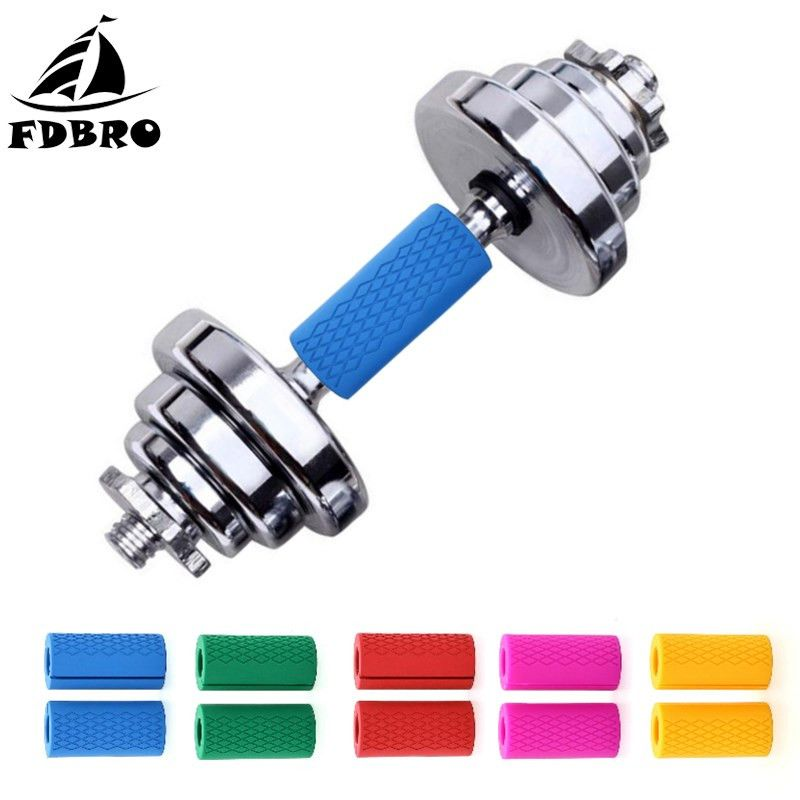 FDBRO 1 Pair Barbell Grips Dumbbell Kettlebell Fat Grip Thick Bar Weightlifting Support Anti-Slip Protect Pad Filled Grips