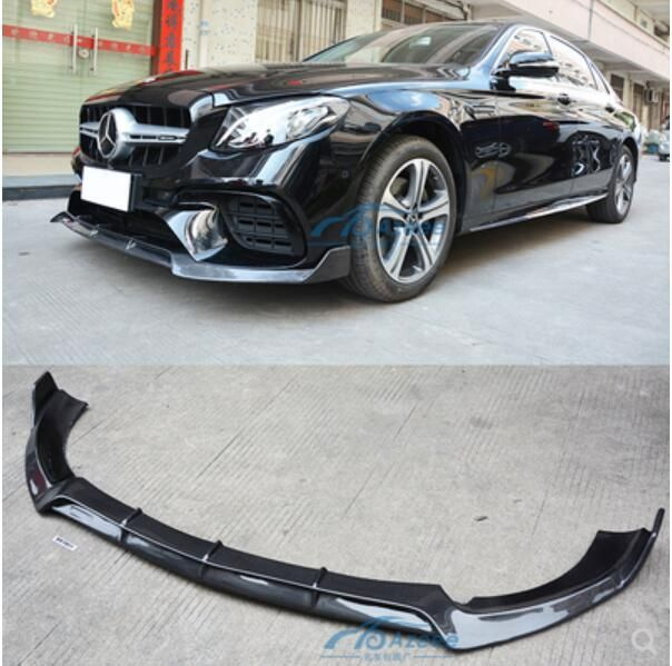 Carbon Fiber Front Lip Splitter Bumper Schürzen Tasse Klappen Spoiler Für Benz W213 E200 E260 E300 E63 E63S AMG 2016 -2019