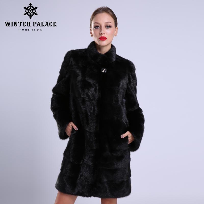 2018 neue stil mode pelzmantel natürliche nerz stehen Kragen gute qualität nerz pelzmantel frauen natürliche schwarz mäntel von pelz