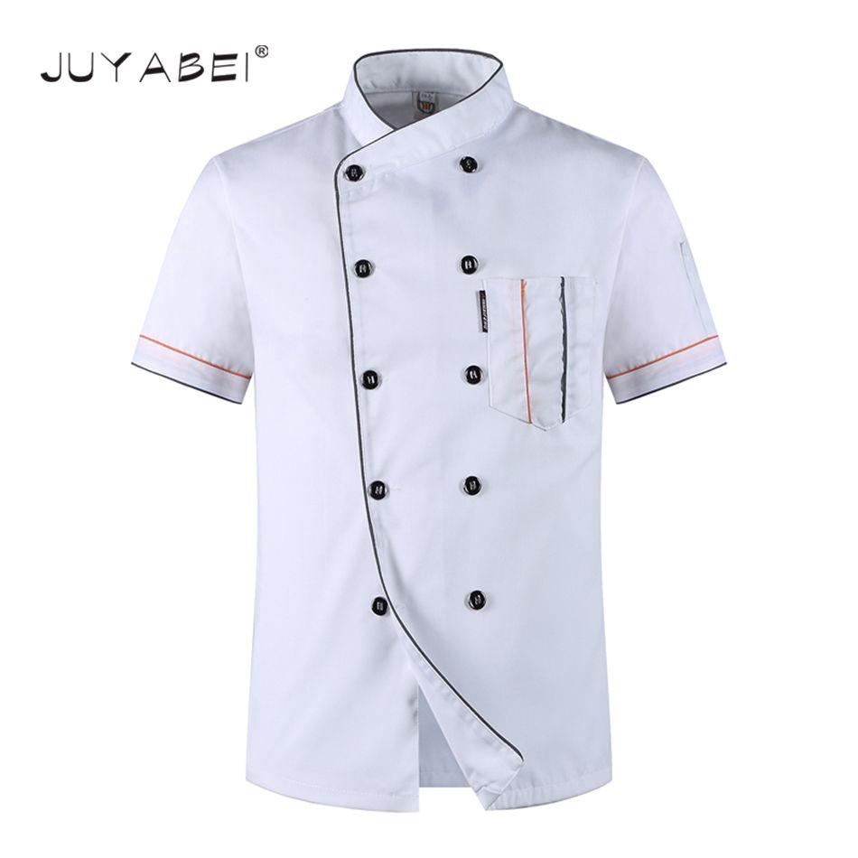 M-3XL uniformes del cocinero chef de manga corta ropa de los hombres transpirable chaquetas verano restaurante de cocina ropa de trabajo de servicio de alimentos de panadería