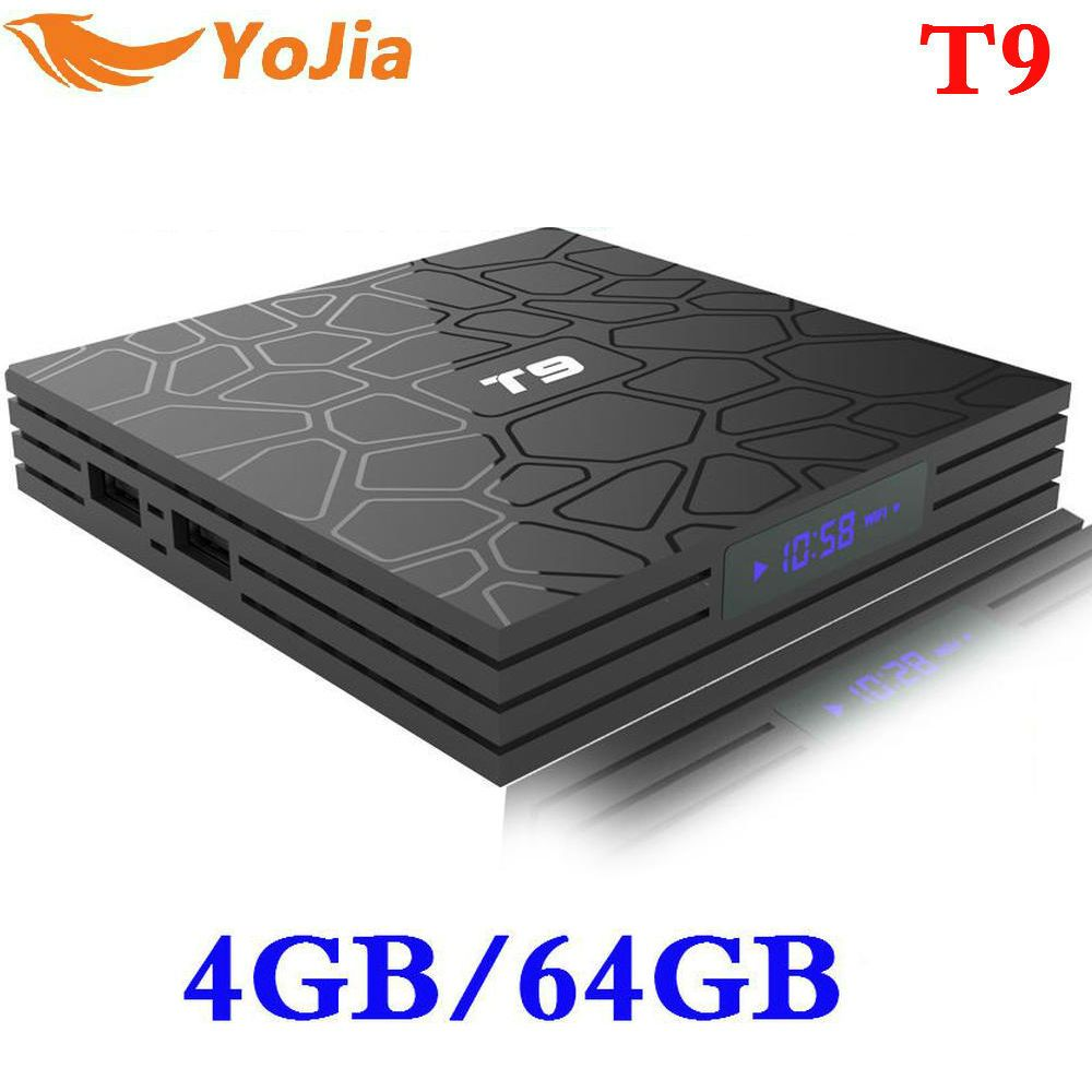 Newest 4GB 64GB Android 8.1 TV Box T9 RK3328 Quad Core 4G/32G USB 3.0 Smart 4K Set Top Box Optional 2.4G/5G Dual WIFI Bluetooth