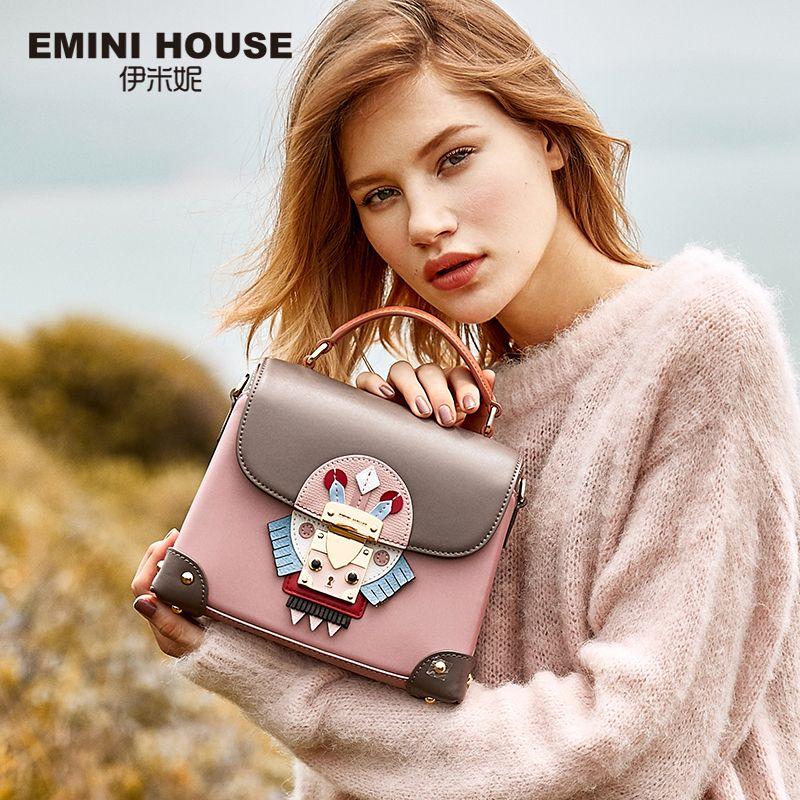 EMINI HOUSE Indian Style Luxury Handbags Women Bags Designer Split Leather Crossbody Bags For Women Messenger Bags Handbags