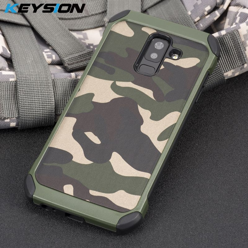 KEYSION Phone Case for Samsung Galaxy A6 A6 Plus Army Camo Camouflage Pattern PC+TPU 2 in1 Anti-knock Back Cover for A6+ A6 Plus