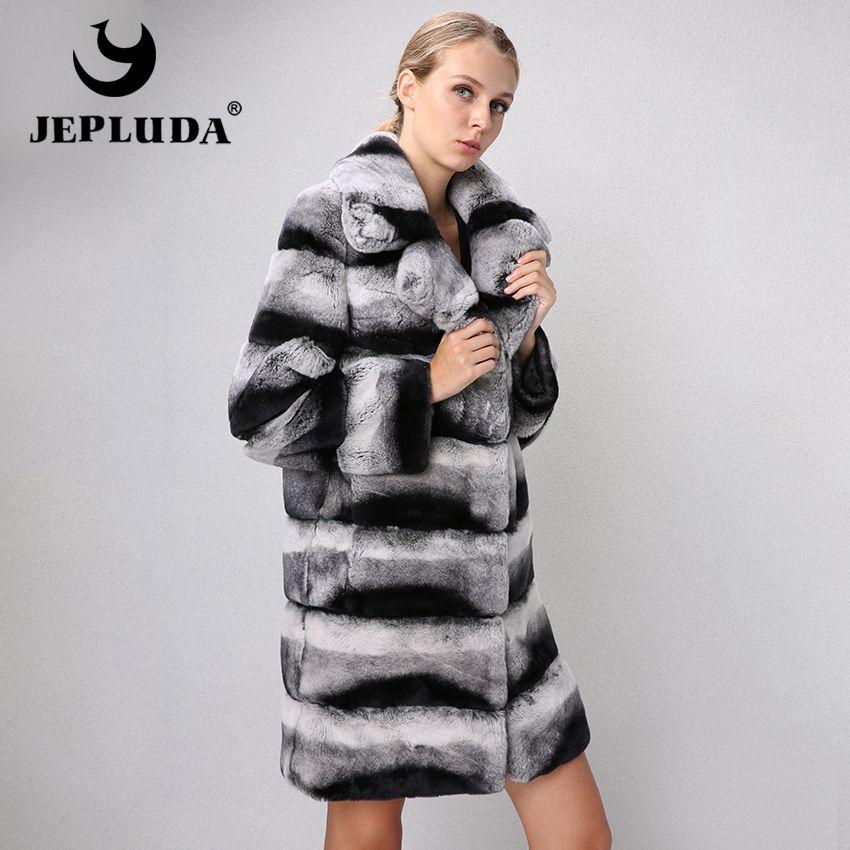 JEPLUDA Brand Elegant New Women Natural Real Fur Coat Suit Collar Sleeve and Hem Detachable Warm Rex Rabbit Fur Coat Fur Jacket