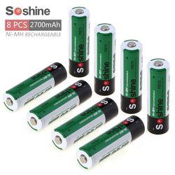 8pcs Soshine 1.2V AA 2700mAh Ni-Mh Rechargeable Battery with 1000 Cycle +2 Portable Battery Box