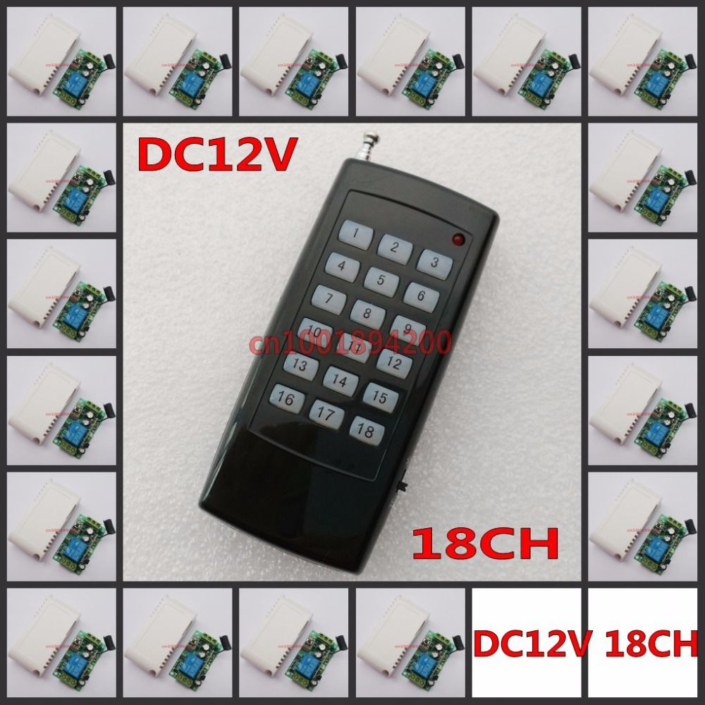 18 CH Remote Switch DC 12V Relay Receiver Transmitter Light Lamp LED Power Remote ON OFF Switch Normally Closed Open 18 Button