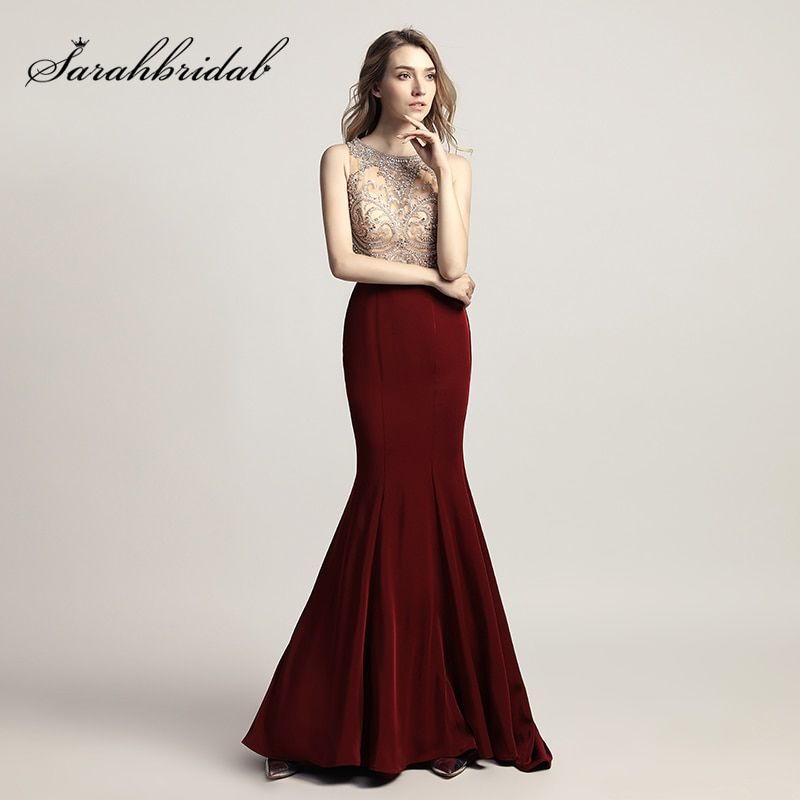 Cheap Shining Beading Rhinestone Bodice Long Mermaid Prom Dresses with Bow Sashes Satin 2019 Evening Party Gowns In Stock LX414