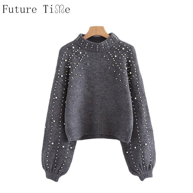 Будущее времени жемчужный бисером ребра вязать джемпер зимние женские пуловеры, свитеры серый Стенд ошейник с длинным рукавом плотный свит...
