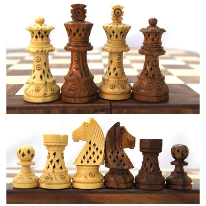 BSTFAMLY carving holz-schachspiel spiel, tragbare spiel der internationalen schach, klapp schachbrett holz schachfiguren LA10