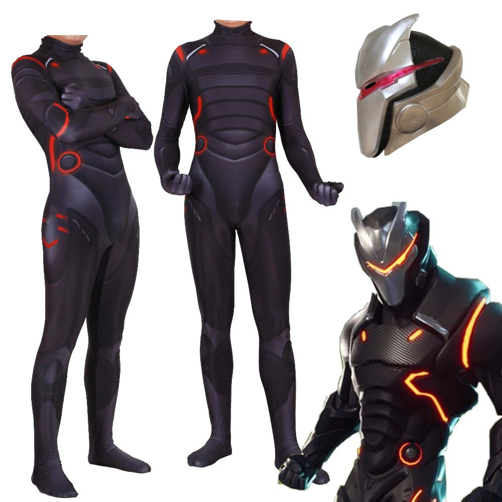 Adulte Enfants Jeu Cosplay Costume Omega L'oubli lien Zentai Body Costume Combinaisons Led Masque Halloween