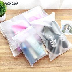 2018 caliente plástico almacenamiento bolsa para viaje maquillaje bolsa de equipaje zapatos impermeables bolsa de tela bolsa Zip Lock almacenamiento organizador bolsa