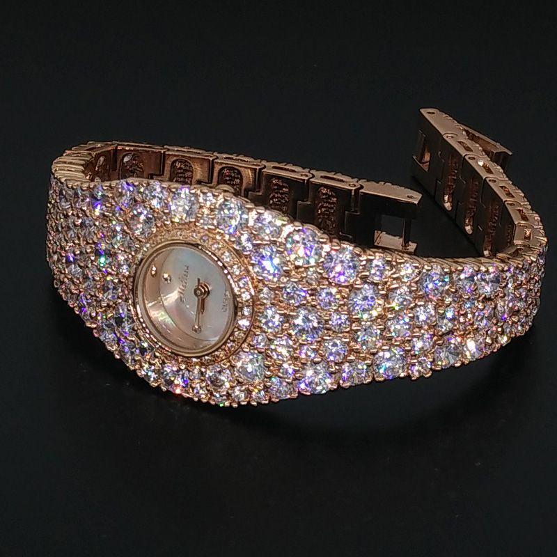 Extravagant Full Crystals Jewelry Watch for Women Elegant Party Dress Watch Bangle Bracelet Wristwatch Quartz Montre Femme F8016