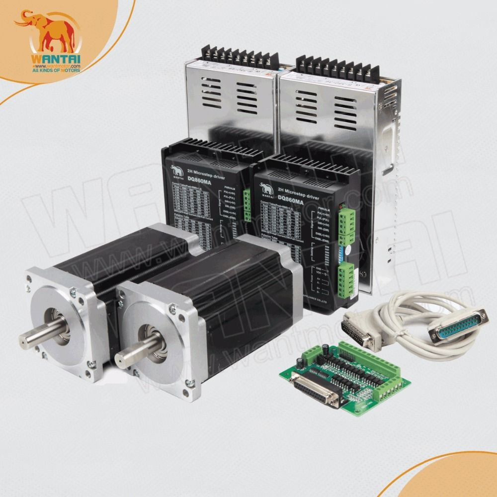 2 Achsen Wantai Nema34 Schrittmotor 85BYGH450D-008 1090oz-in + Treiber DQ860MA 7.8A 80 V 256 Micro CNC Plasma Gravur Schleifen