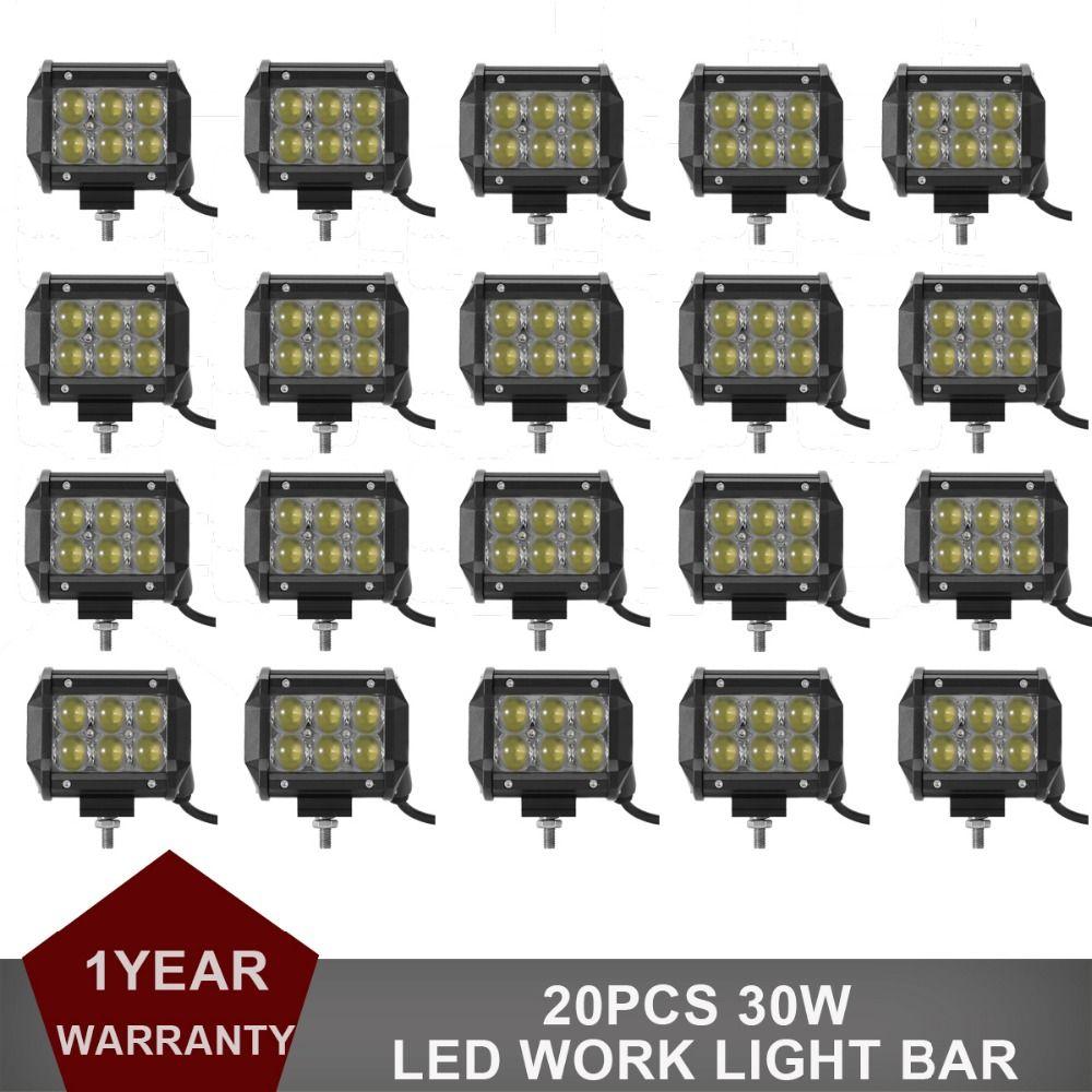20pcs 30W LED Work Light Bar 12V 24V Car Auto Truck Motorcycle SUV ATV 4WD 4X4 UTE AWD Trailer Wagon Driving Headlight Fog Lamp