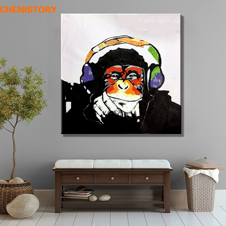 Unframed Modern Abstract Oil Painting Handpainted Canvas Painting Home Decoration For Wall Art Picture Orangutan Listen To Music