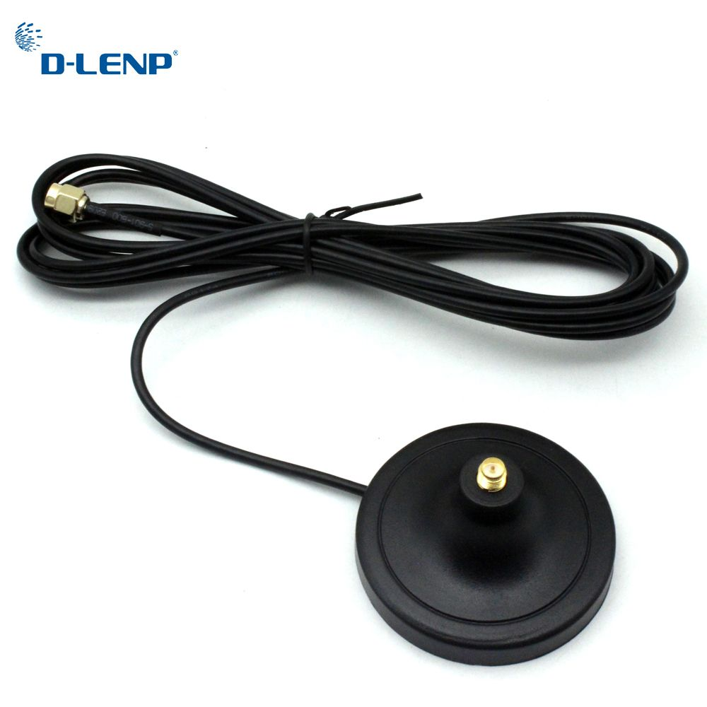Dlenp Antenna Pure Cupper RP-SMA Male to Female WiFi Antenna Extension 3M Cable Magnetic Base for Router Wireless Network Card