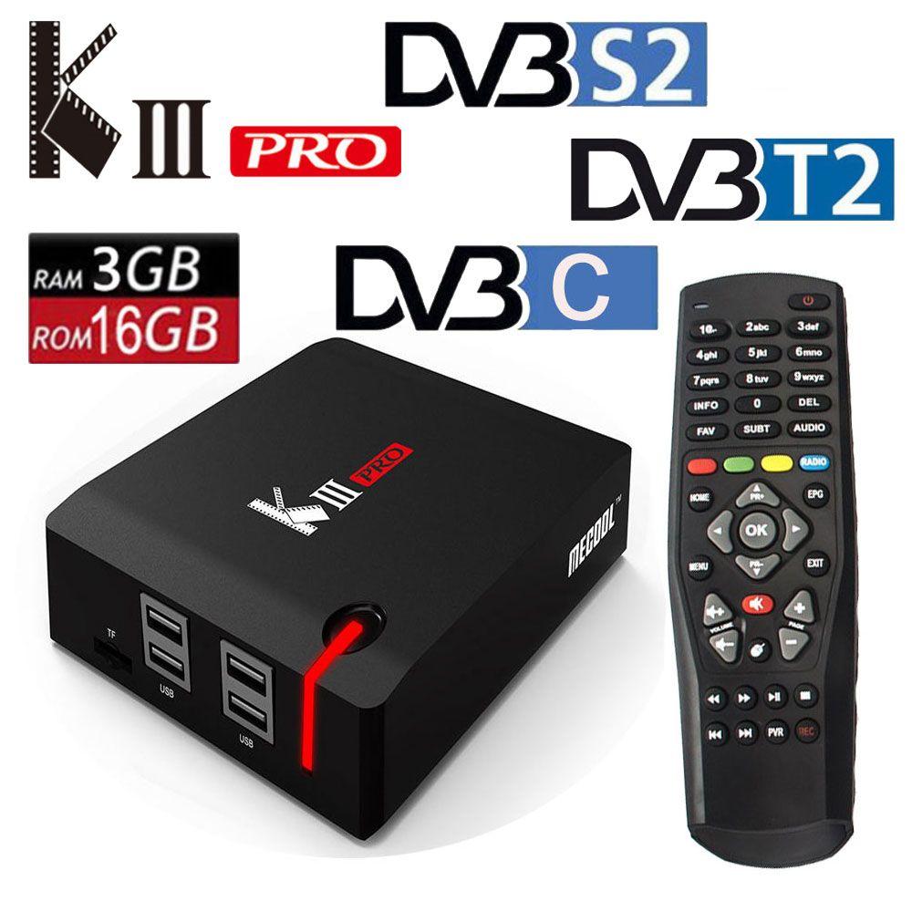 Original MECOOL KIII PRO TV Box Amlogic S912 DVB-T2 DVB-S2 DVB-C Octa Core Android 7.1 3G 16G 2.4G/5G Wifi 4K Smart Media Player