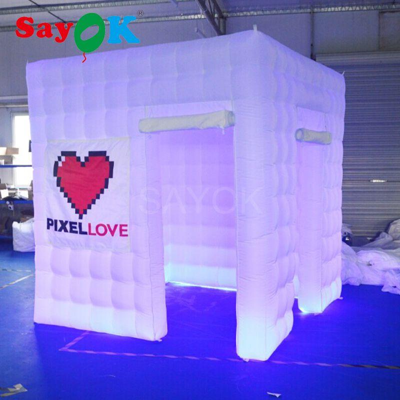 2.5 m inflable foto cabina con GBR LED luz para la decoración de la boda del partido