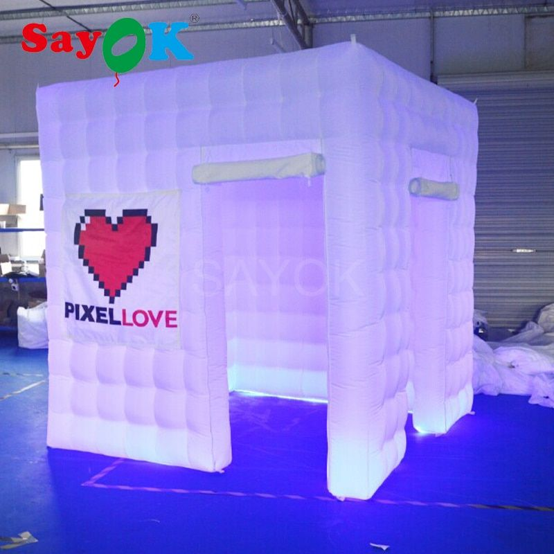 2.5m inflatable photo booth with GBR led light for party wedding decoration