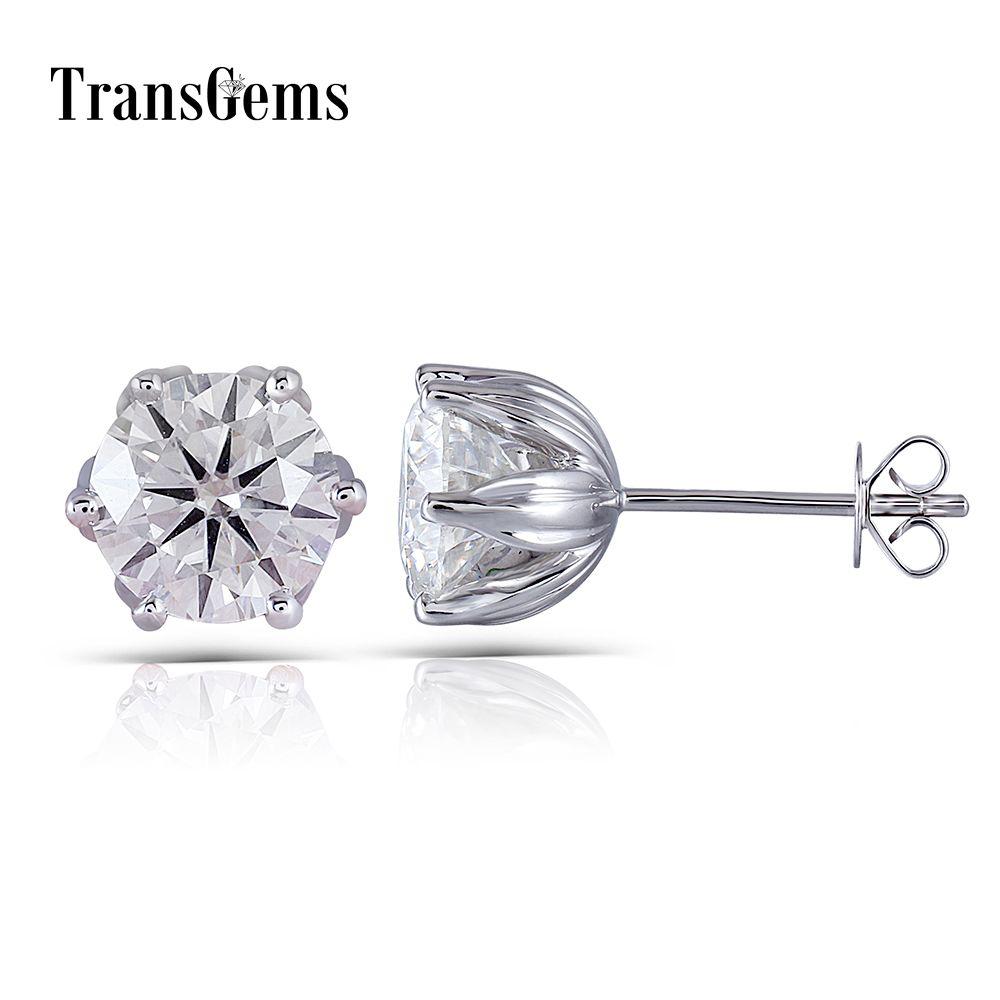 Transgems Flower Shaped Solid 14K 585 White Gold 4CTW 8mm FG Color Clear Moissanite Stud Earring Push Back for Women Wedding