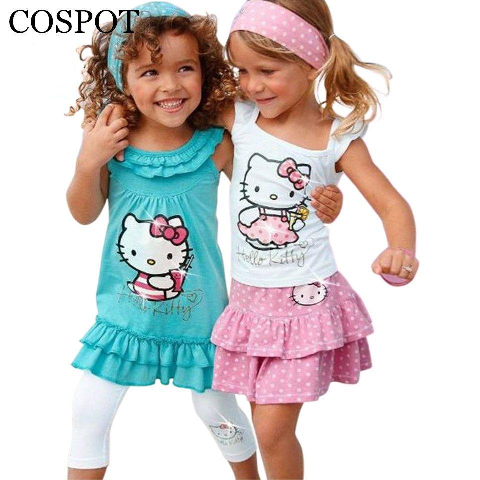 COSPOT Bébé Fille Hello Kitty ensemble Filles Dessin Animé 3 pièces bandeau + robe + pantalon Enfants Vêtements Ensembles Bebes Fille Vêtements 2019 nouveau 10F