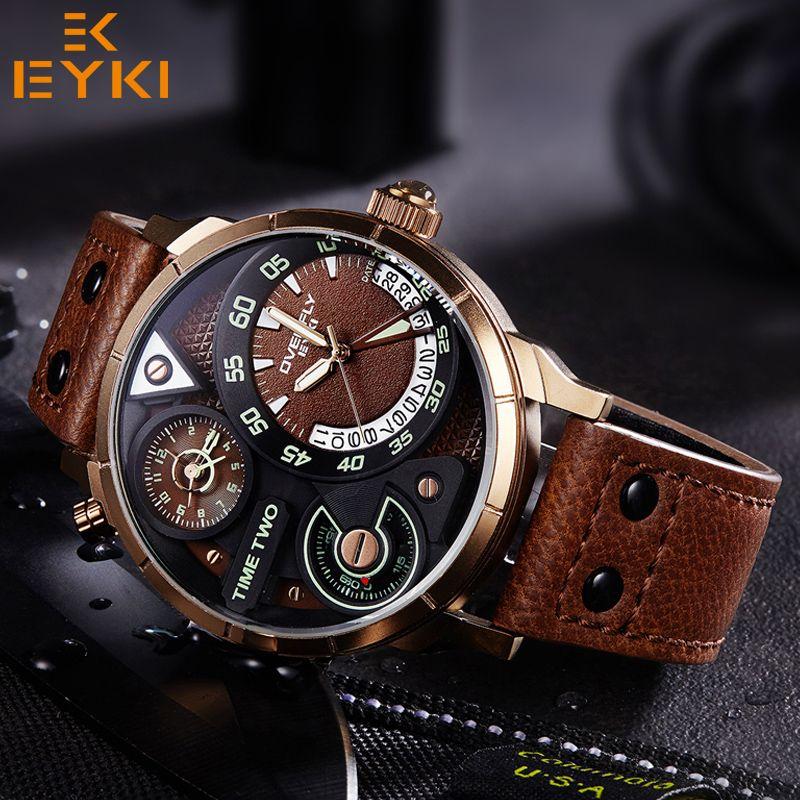 EYKI Men army sport luminous Quartz Wristwatch Luxury Male Clock Black Watchband Man waterproof Watch relogio masculino hot sale