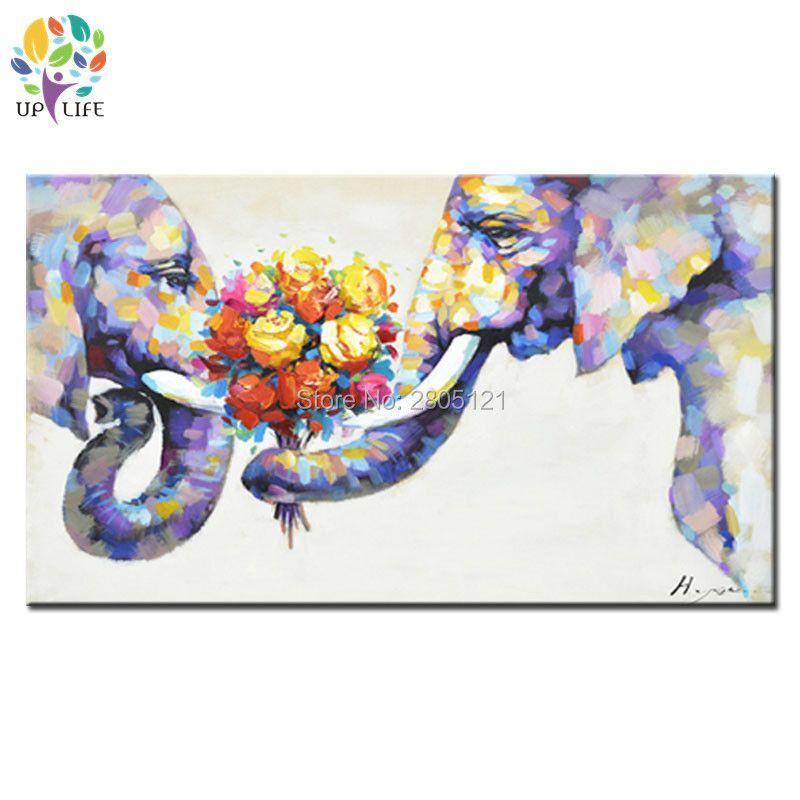 Peint à la main moderne Peinture À L'huile animale Sur Toile couple Éléphant image amour unique spécial cadeau de mariage mur art décor cadeau