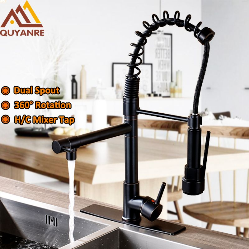 Chrome Black Spring Pull Down Kitchen Faucet Dual Spouts 360 Swivel Handheld Shower Kitchen Mixer Tap Hot <font><b>Cold</b></font> 2 Outlet Taps