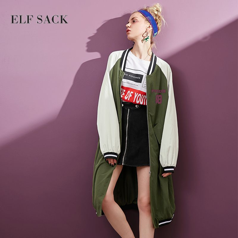 ELF SACK Number Prints Harajuku Women Baseball Long Jackets Female Outerwear Loose Oversize Straight Zipper Flight suit Style
