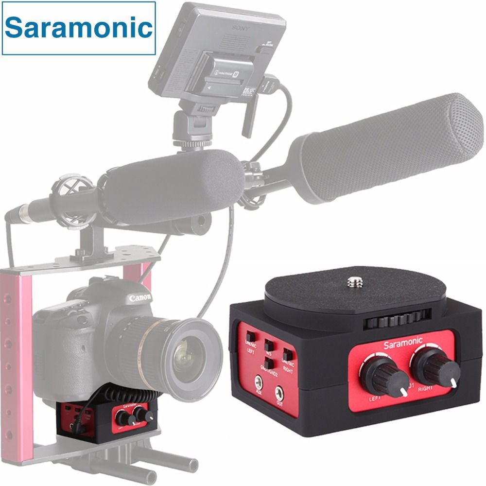 Saramonic SR-AX101 2-Channel Audio Mixer Microphone Adapter with XLR & 3.5mm Inteface for Canon Panasonic DSLR Camera&Camcorder