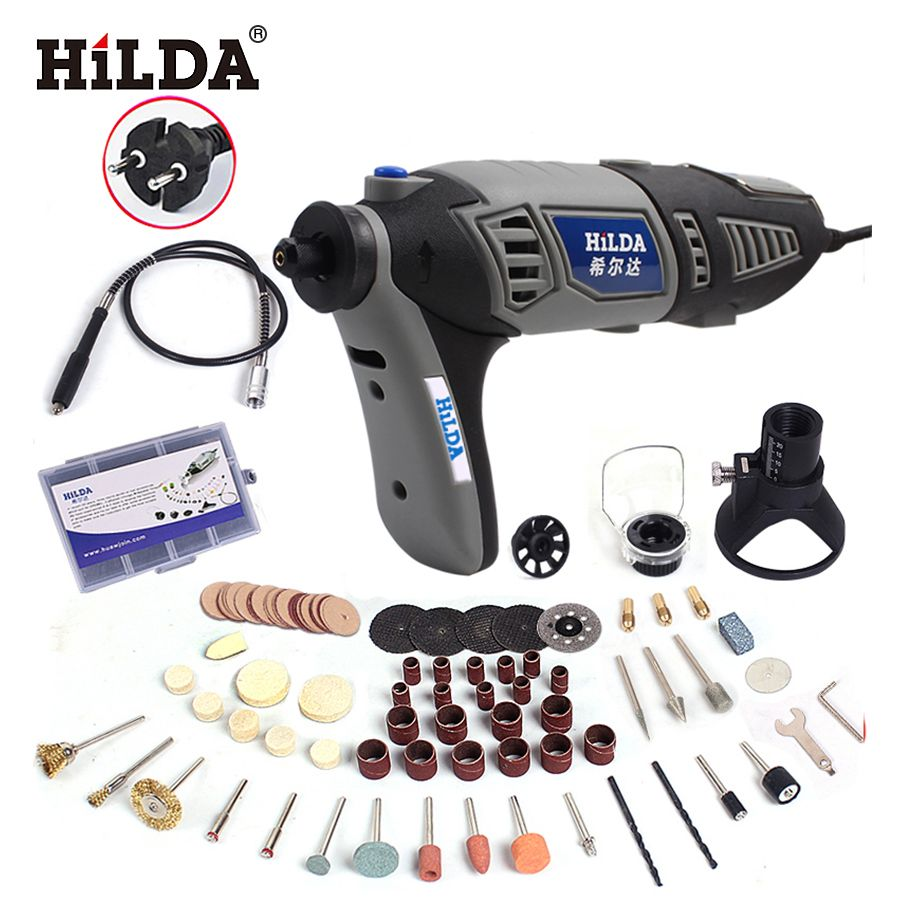 HILDA 180W Electric Mini Drill Variable Speed Grinder Grinding Machine with Engraving Accessories Dremel Rotary <font><b>Tool</b></font> 3000 4000