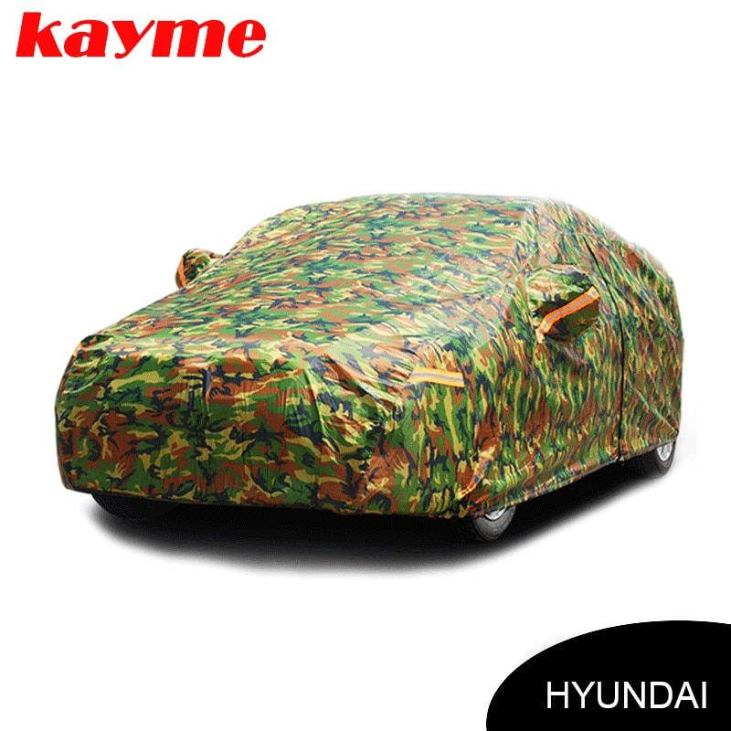 Kayme waterproof camouflage car covers outdoor sun protection cover for Hyundai solaris ix35 i30 tucson Santa Fe accent creta