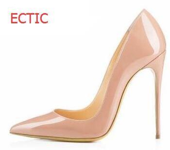2018 Brand Shoes Women High Heels Pumps High Heels 12CM Women Shoes Party Wedding Shoes Pumps Black patent leather Shoes