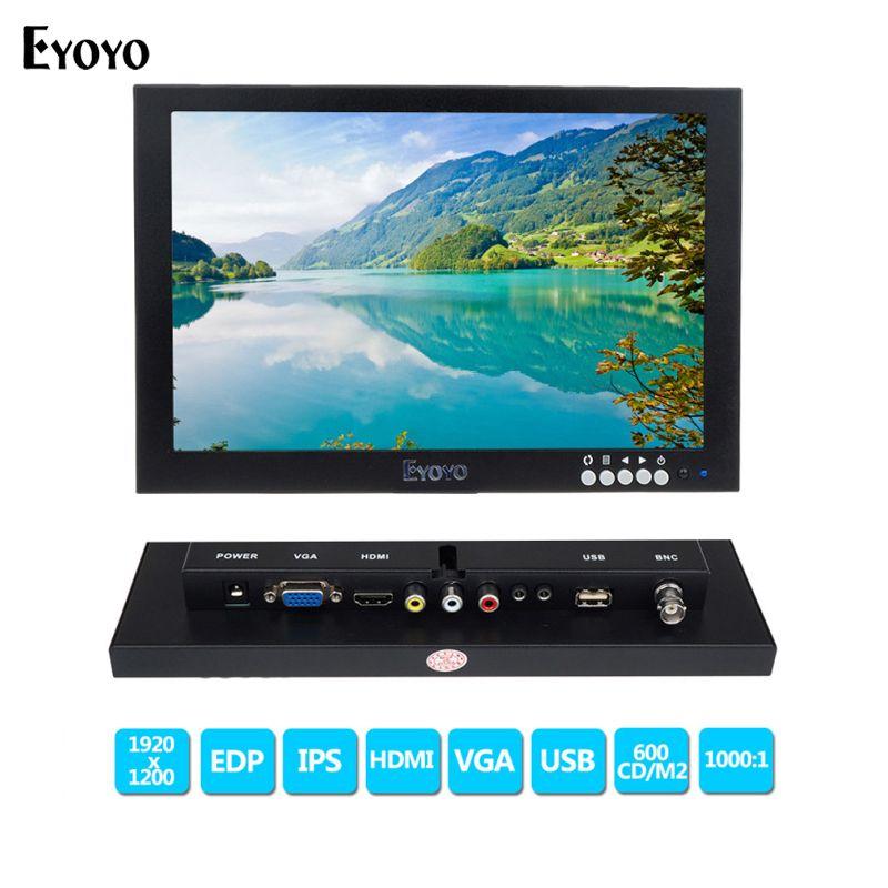 Eyoyo 10 pouce IPS EDP CCTV Moniteurs HD 1920x1200 FHD Affichage LCD Moniteur Vidéo Audio entrée avec VGA HDMl BNC USB Interface