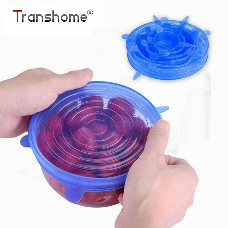 Transhome 6pcs Food Wraps Reusable Silicone Food Fresh Keeping Sealed Covers Silicone Seal Vacuum Stretch Lids Kitchen Tools