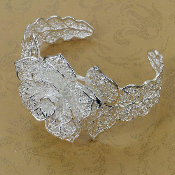 Vende B164 caliente! venta al por mayor 925 pulsera brazalete de plata, la joyería de plata 925, brazalete de la flor
