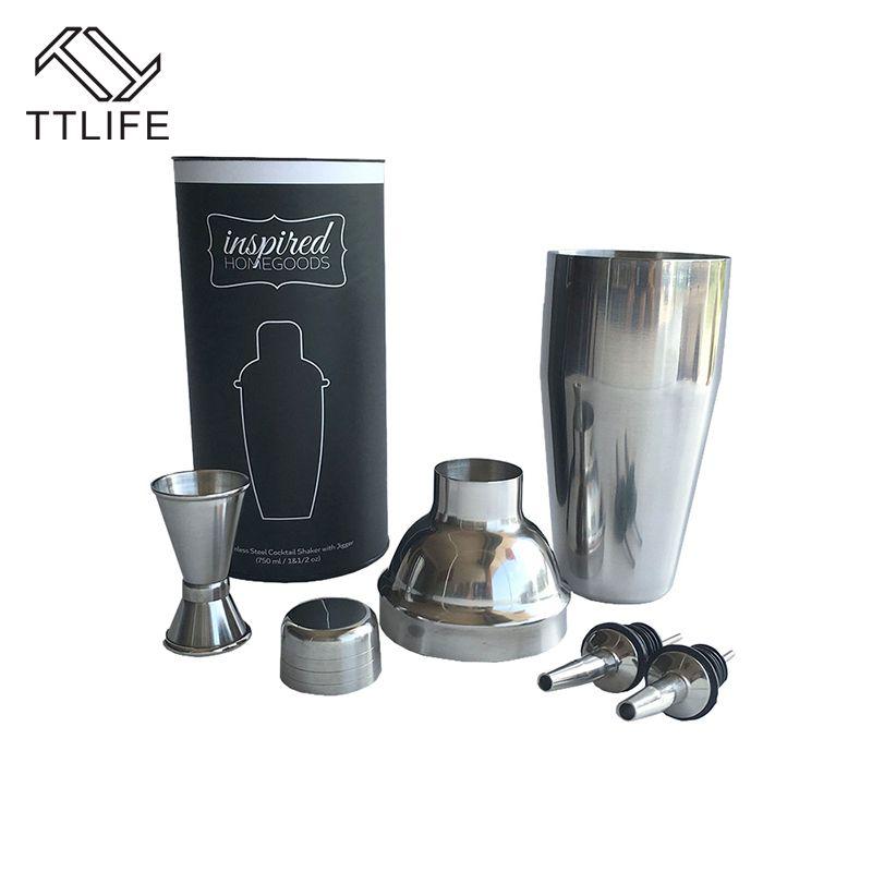 TTLIFE nouveau 4 pièce/ensemble 750 ml Cocktail Shaker ensembles 304 acier inoxydable professionnel barmen Kit cuisine/Bar accessoires