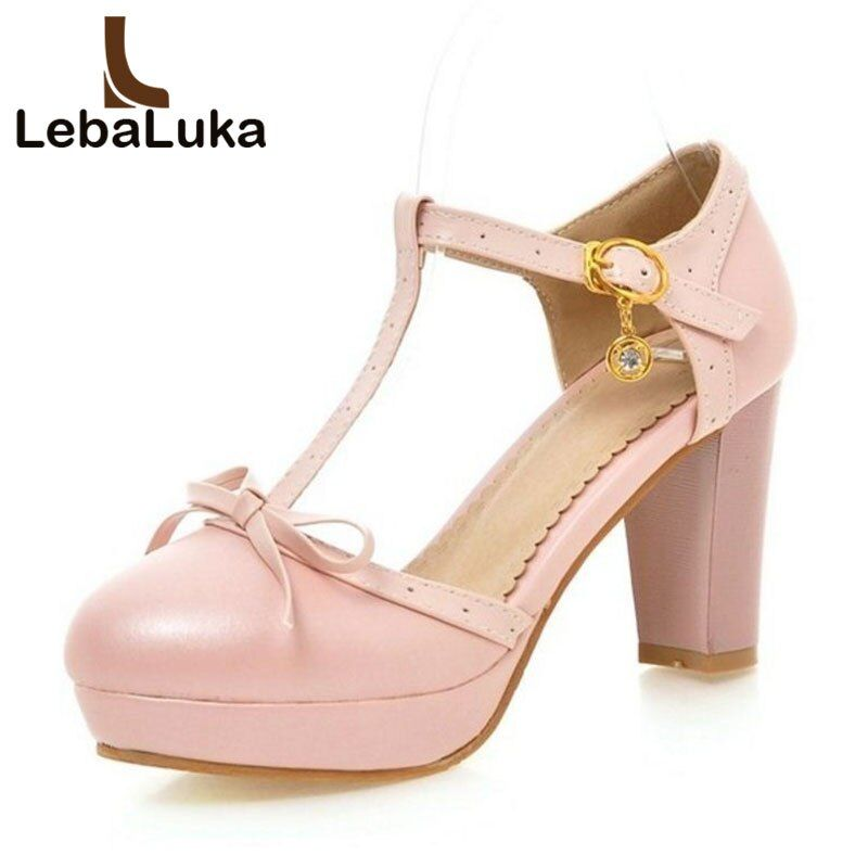 Lebaluka Size 32-43 Women T Strap Sandals Buckle Thick High Heels Bowknot Shoes Women Platform Sandalias Lady Party Footwear