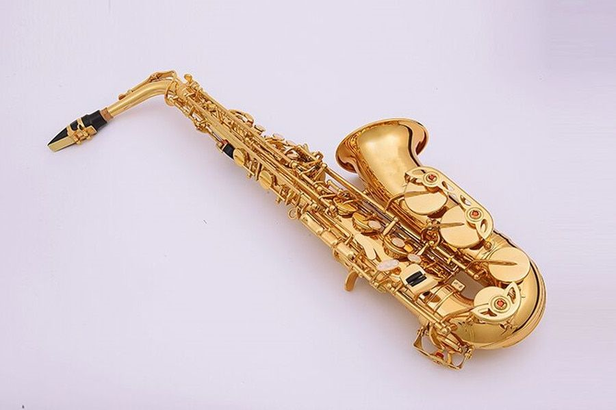 Alto saxophone drop Eb Alto Sax instruments Electrophoretic gold Accessories complete Free shipping New Real pictures
