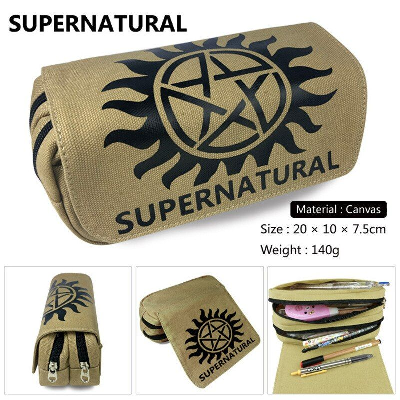 Supernatural SPN Wallet Bag Zipper Pencil Case Cosmetic Pouch Students Wallet Purse Bag Boys Girls Gifts