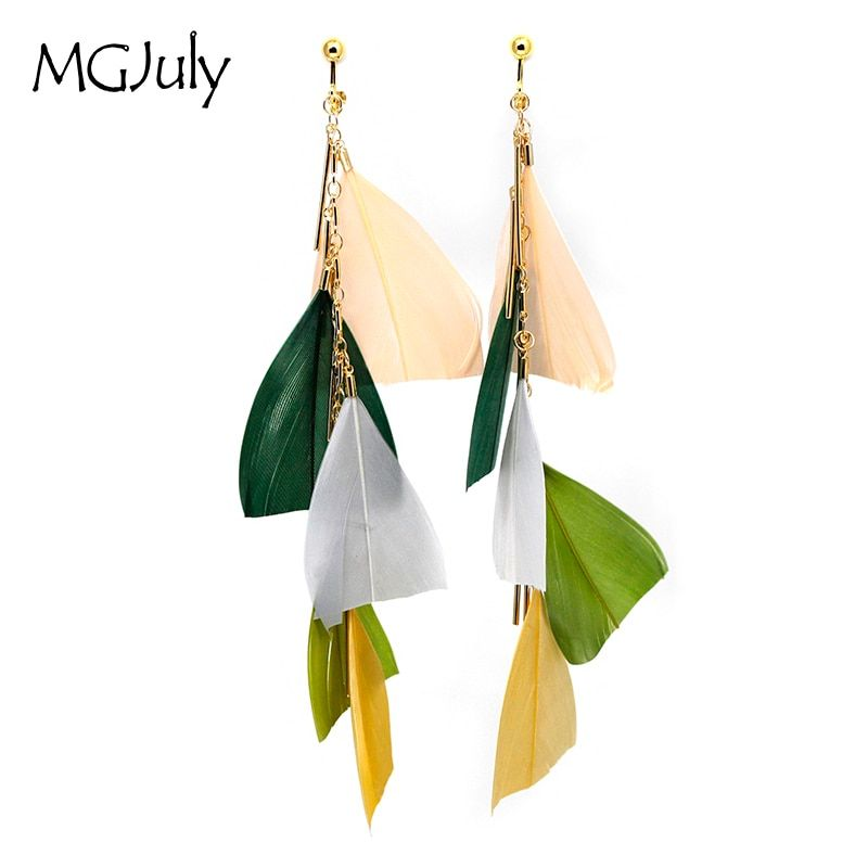 Feather Earrings No Ear Hole Multicolor Feathers Clip On Earrings Without Piercing Women Long Tassel Earring Jewelry CE025