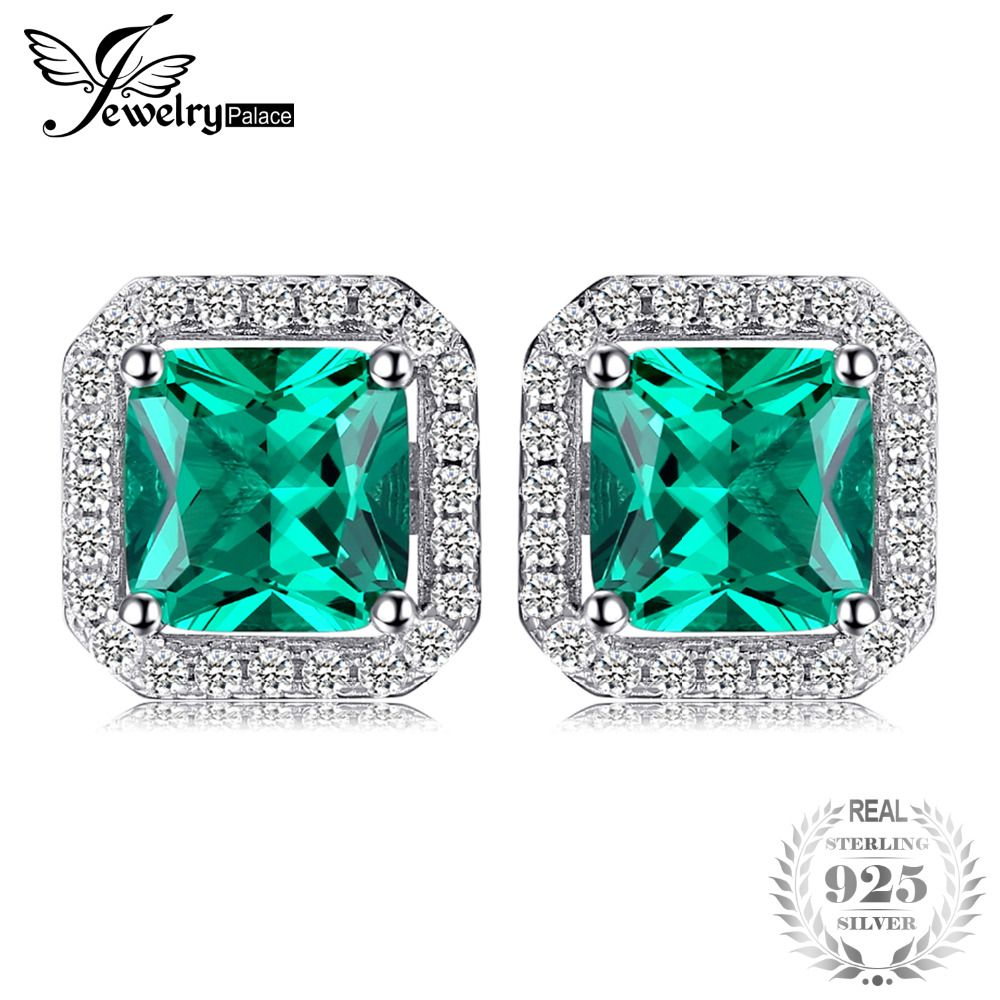 JewelryPalace Square 1.4ct Created Emerald 925 Sterling Silver Stud Earrings Fine Jewelry for Women  New Brand