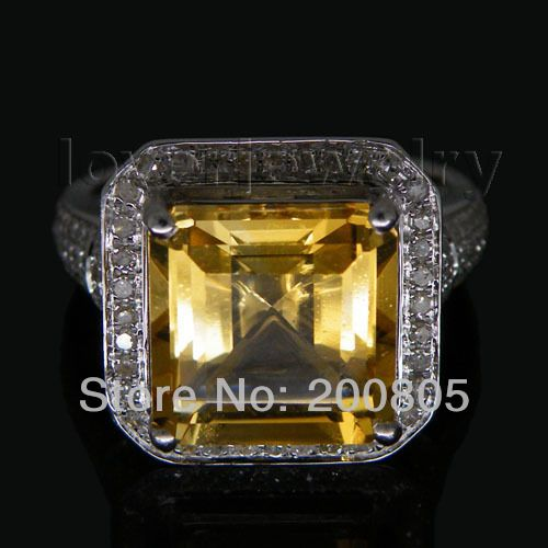 6.42Ct Solid 14Kt White Gold Diamond Citrine Ring,Engagement Wedding Ring For Sale G090326