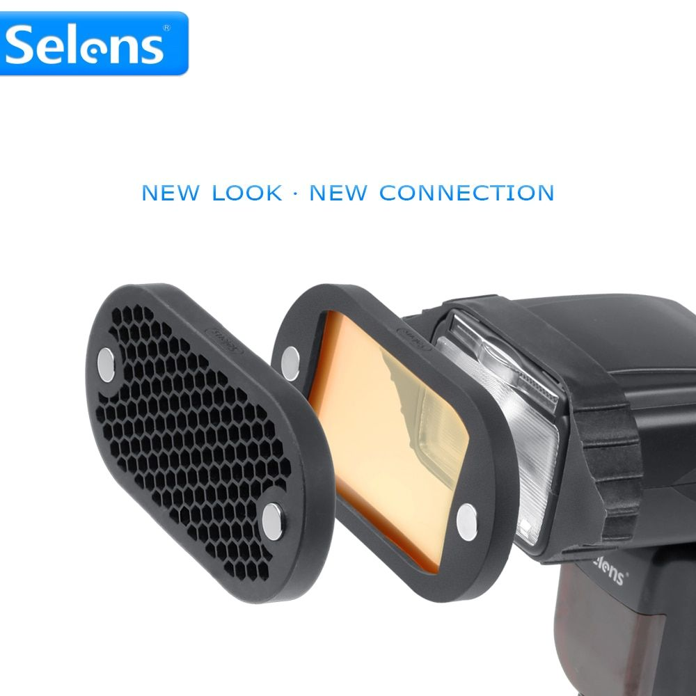 Selens Seven Color Speedlite Filter Honeycomb Grid with Magnetic Rubber Band for Yongnuo Canon Nikon Flash Accessories Kit