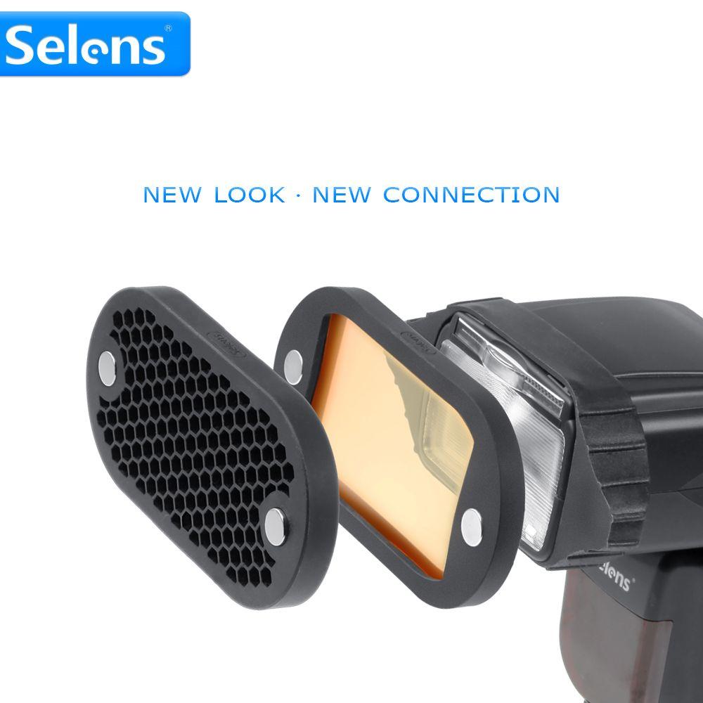 Selens sept couleurs Speedlite filtre nid d'abeille grille avec bande de caoutchouc magnétique pour Yongnuo Canon Nikon Kit d'accessoires Flash