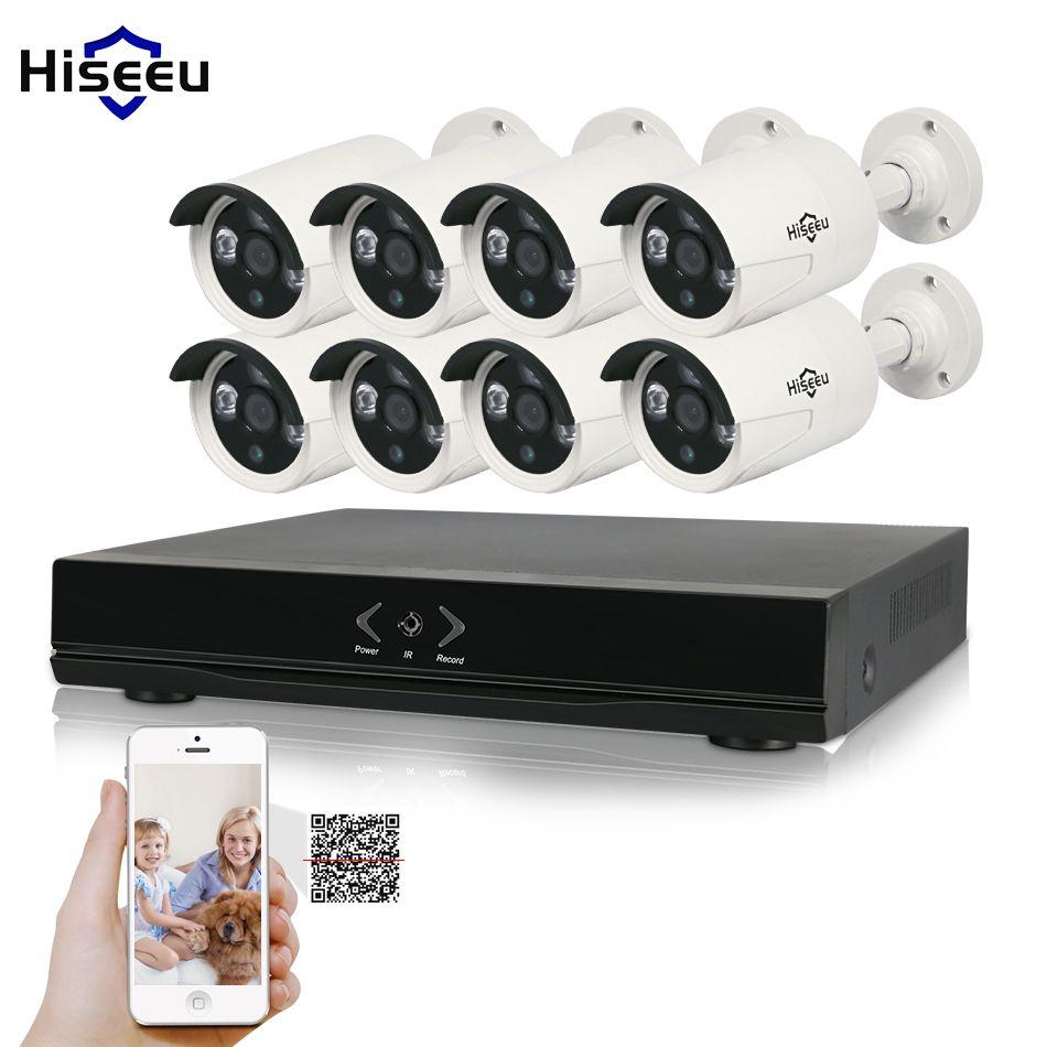 Hiseeu 8CH 1080P HD NVR Kit POE CCTV System 8PCS cameras 2.0MP Outdoor IP Camera Waterproof P2P Onvif Security Surveillance set