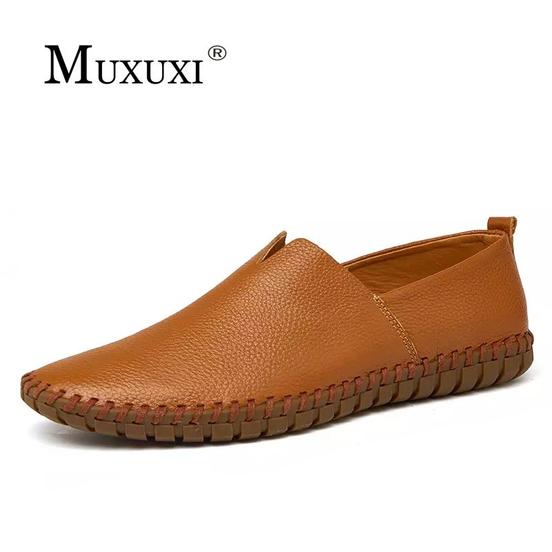 Genuine leather casual shoes men comfortable loafers brand men shoes soft breathable flats driving shoes plus size 38-47